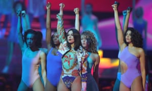 Supernova … Dua Lipa performs on stage at the BRIT awards.