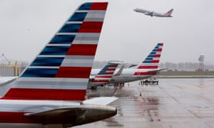 American Airlines aircraft at Ronald Reagan Washington national airport, Arlington, Virginia. The US aviation industry is to receive $60bn in the government's coronavirus relief package.