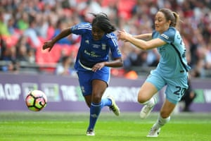 Freda Ayisi of Birmingham City shows a clean pair of heels to Manchester City's Megan Campbell.