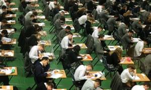 Pupils sitting a GCSE exam