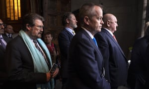 Derryn Hinch (left), Bill Shorten (second from right) and Lindsay Fox (right) leave the funeral.