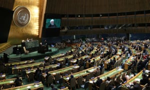 Iran's president Hassan Rouhani addresses the United Nations general assembly in New York