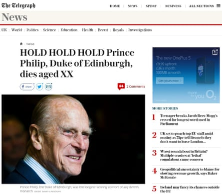 The report announcing the Duke of Edinburgh's death was swiftly removed from the website.