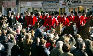 Members of the Quorn, Belvoir, Cottesmore and Oakley hunts parade in Melton Mowbray, Leicestershire