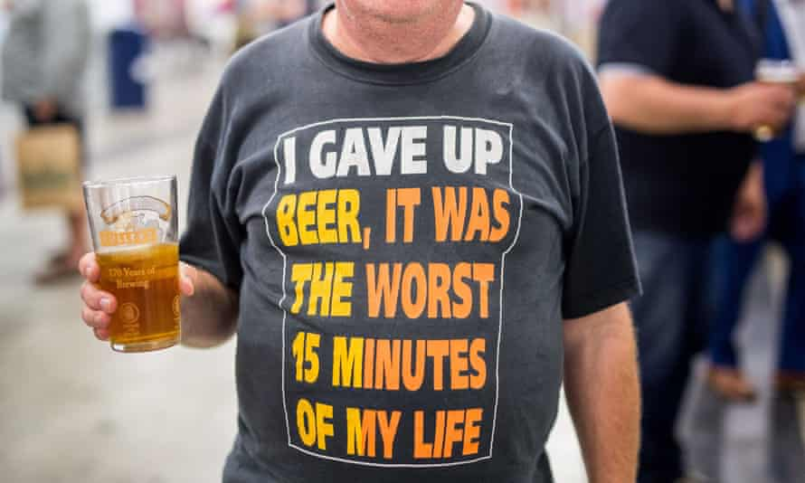 A beer lover at the Great British Beer Festival, organised by the Campaign for Real Ale (Camra).