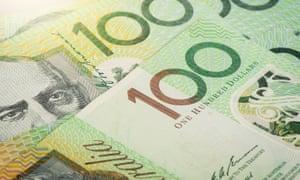 Closeup Australian one hundred dollar bills