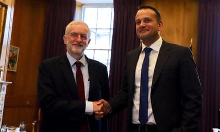 Jeremy Corbyn visits Ireland's taoiseach Leo Varadkar in Dublin on Thursday.