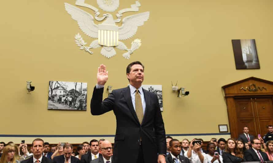 'Sadly, the end is not in sight unless all their hammering produces a backlash.' FBI director James Comey swears an oath before the House Oversight Committee.