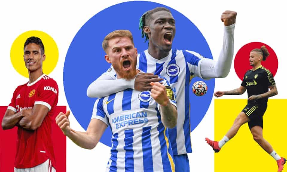 Raphaël Varane of Manchester United; Alexis Mac Allister and Yves Bissouma of Brighton; Leeds's Kalvin Phillips.