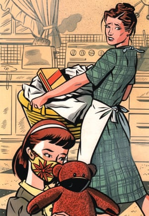 Review cover illustration of a mother with her child wearing a mask by mick brownfield