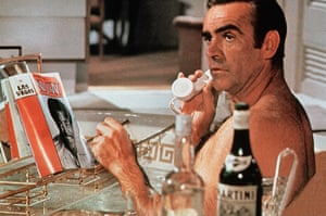 This calls for a drink … Sean Connery relaxes with a good read and some Martini in the film of Diamonds Are Forever.