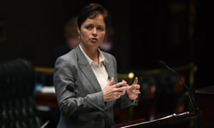 The member for Mulgoa, Tanya Davies, speaking during the abortion debate in NSW parliament in August. Davies has threatened to move to the cross bench if key amendments are not made the bill.