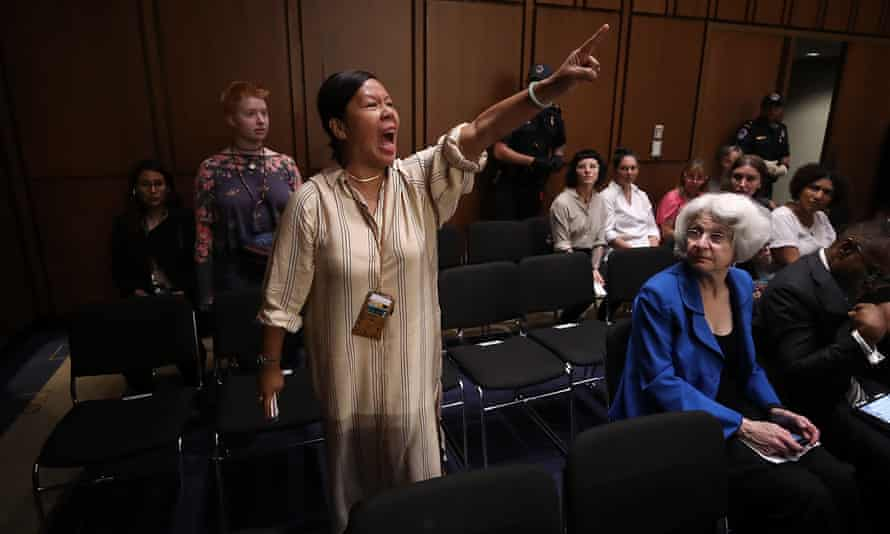 Protesters disrupt the start of the supreme court nominee Brett Kavanaugh's confirmation hearing.