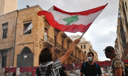 A protest outside the offices of Lebanon's parliament on the day the cabinet resigned.