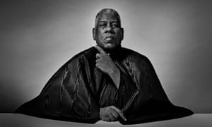 Head and shoulders black and white portrait of former US Vogue editor-at-large Andre Leon Talley