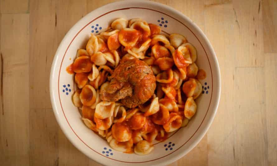 Orecchietta and meat roll braciola with tomato sauce.