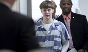 Dylann Roof is sentenced in court in April 2017.