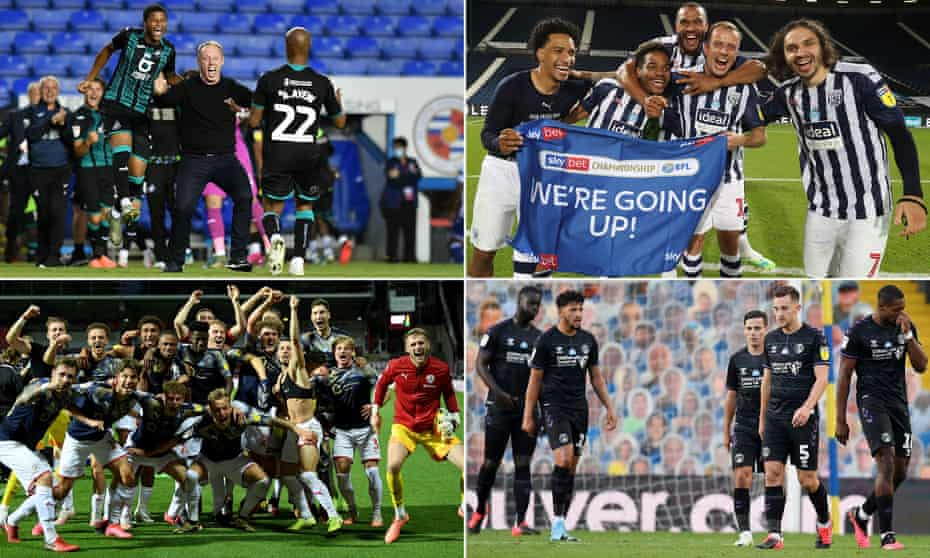 Clockwise from top left: Swansea celebrate their play-off place, West Brom toast promotion, Charlton face up to relegation and Barnsley enjoy a great escape