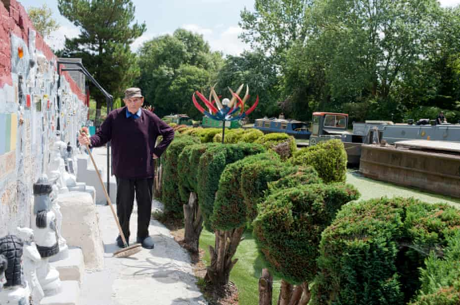 Gerard Dalton in the remarkable garden he single handedly created after he retired at 65, next to the Grand Union Canal, July 2019