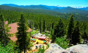 Aerial view of the Blue Sky Ranch amid mountains and lush forest in Black Hawk, Colorado, US.