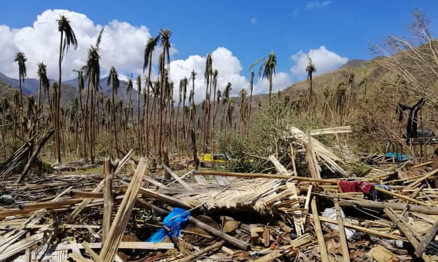 A home destroyed in Wusi village, Espiritu Santo Island, after Cyclone Harold ripped through Vanuatu.