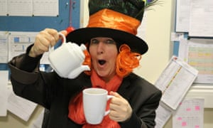 """""""Have I gone mad? I'm afraid so"""" Ms Driscoll dressed as the Madhatter at The Co-operative Academy of Leeds"""