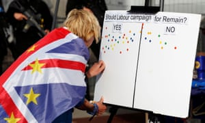 An anti-Brexit protester votes on a board outside the conference centre of the Labour party annual conference in Brighton.