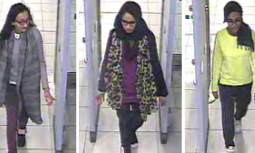 Left to right: Kadiza Sultana, Shamima Begum, and Amira Abase at Gatwick airport in March 2015.