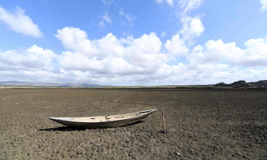 A boat lies in the dry Cedro reservoir in Quixadá, Ceara State, Brazil.