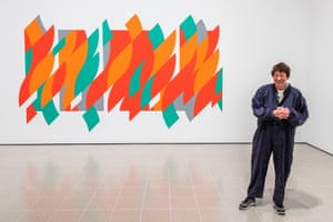 Bridget Riley at the Hayward Gallery with her  2012 work Rajasthan