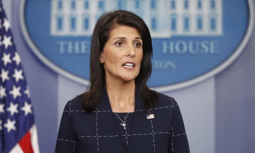 US ambassador to the UN, Nikki Haley, speaks to the media during the daily briefing in the White House.