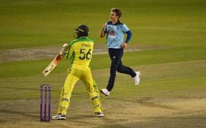 Sam Curran celebrates the wicket of Starc.
