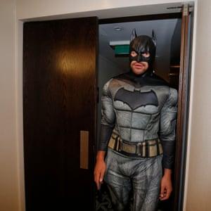 Steven Luatua dressed as Batman.