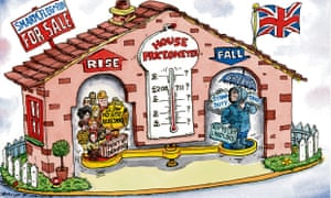 Cartoon of a traditional 'weather house' barometer showing the state of the housing market