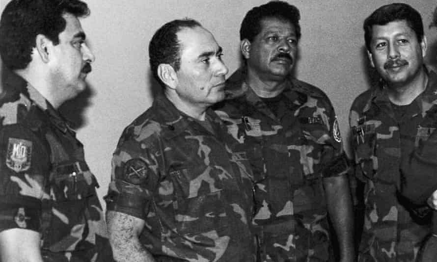 Inocente Orlando Montano (second right) pictured in July 1989 with Col Rene Emilio Ponce, formerly head of the armed forces joint chiefs of staff, Rafael Humberto Larios, formerly defence minister, and Col Juan Orlando Zepeda, formerly defence vice-minister
