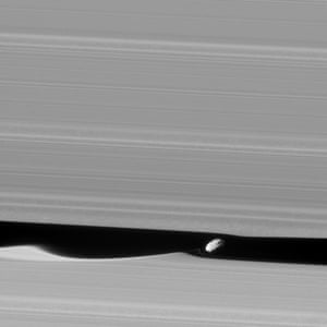 18 January 2017 The wavemaker moon, Daphnis, is featured in this view, taken as Cassini made one of its ring-grazing passes over the outer edges of Saturn's rings. This is the closest view of the small moon obtained yet. Daphnis (5 miles or 8kms across) orbits within the 42km (26-mile) wide Keeler Gap. The little moon's gravity raises waves in the edges of the gap in both the horizontal and vertical directions.