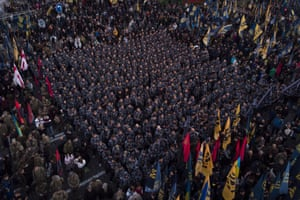 Nationalists rally to mark Defender of Ukraine Day in Kiev