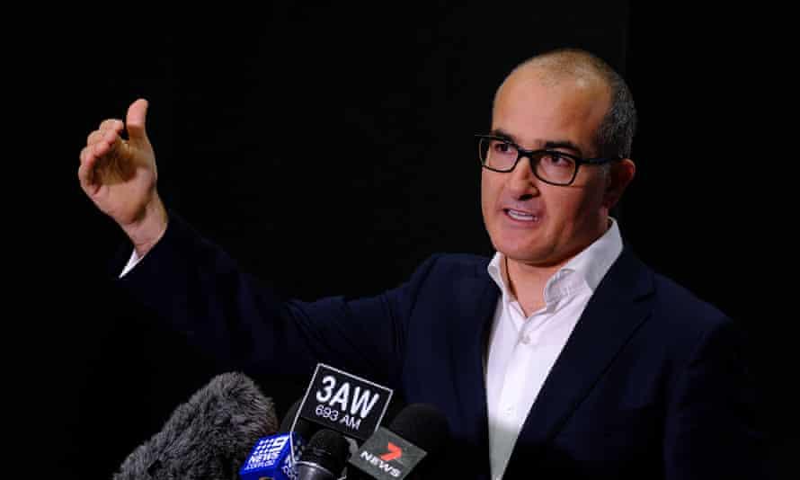 Victoria's acting premier James Merlino addresses the media during Melbourne's fourth lockdown