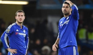 Chelsea's Eden Hazard and Diego Costa during the home defeat to Bournemouth.