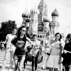 Vlada and her friends in Moscow's Red Square.