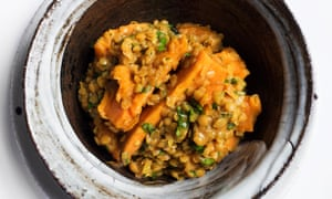 Winter warmer: steamed sweet potato and dal.