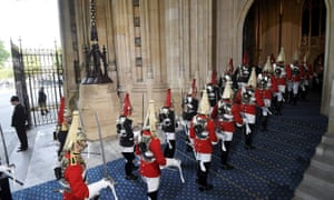 Members of the Household Cavalry arriving at parliament earlier for the state opening.