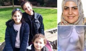 Main pic Mierna, 13, Fatima, three, and Zaynab Choucair. Top right Nadia Choucair, Bottom right Sirria Choucair