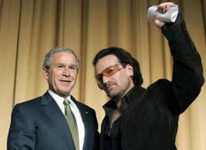 George W. Bush and Bono pictured in 2006.