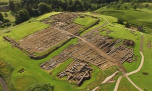 The fourth-century stone fort of Vindolanda from the air.