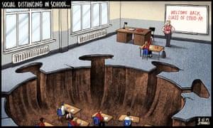 Ben Jennings cartoon on social distancing in reopened schools.