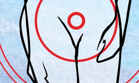 Detail of illustration, red circles around a woman's groin