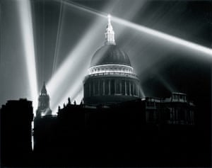 St Paul's Cathedral illuminated on the night of VE Day