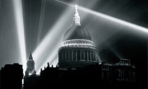St Paul's Cathedral illuminated on the night of VE Day, London, 8 May 1945.