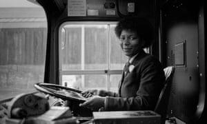 Martin Jenkinson, Maxine Duffat, South Yorkshire Passenger Transport's first black woman bus driver. Herries Road bus garage, Sheffield., 18/11/1983 © Martin Jenkinson Photo Library / pressphotos.co.uk